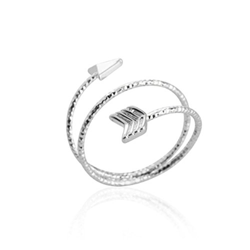 Multilayer Arrow Opening Adjustable Wire Rings for Women and Girls (Silver) (Arrow Ring Wrap)