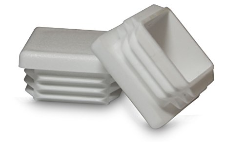 10 Pack: Square White Plastic Plug, Tubing End Cap, Durable Chair Glide (1.25'' (1-1/4'')) by PVB413