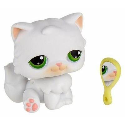Hasbro Year 2004 Littlest Pet Shop Single Pack Series Bobble Head Pet Figure - White PERSIAN KITTY CAT with