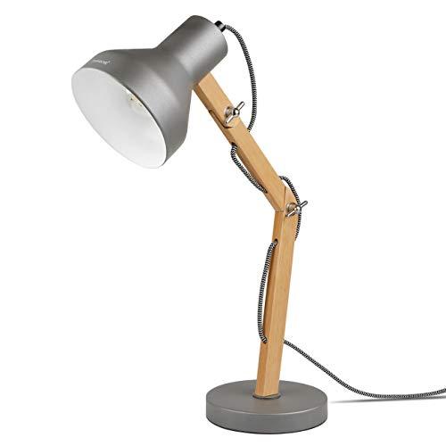Tomons Lámpara de Escritorio de Madera, Lámpara de Mesa Diseñada, de Lectura, Estudio, Trabajo, Oficina, Cabecera de Noche, LED, Incluyendo Bombilla