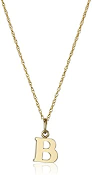 "14k Yellow Gold-Filled Letter ""B"" Charm Pendant Nec"