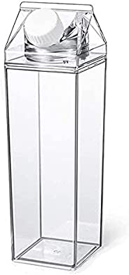 Transparent Milk Carton Water Bottle Portable Plastic Bottle Reusable Water Bottles Outdoor Cold Juice Water S