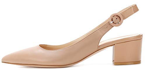Eldof Pointed Toe Pumps,Slingback Ankle Buckle Chic Pumps,Classy Block Heel 2
