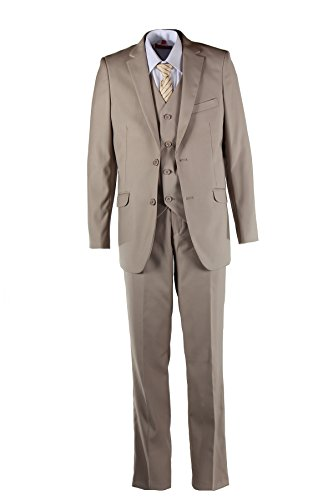 Boys Slim Fit Khaki Tan Suit in Toddlers to Boys Sizing (5 Boys) (Boys Vest Holiday)