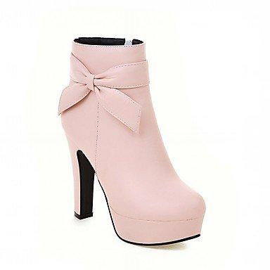 RTRY Zapatos De Mujer De Piel Sintética Pu Novedad Moda Otoño Invierno Confort Botas Botas Chunky Talón Puntera Redonda Botines/Botines De Fiesta Bowknot US5 / EU35 / UK3 / CN34