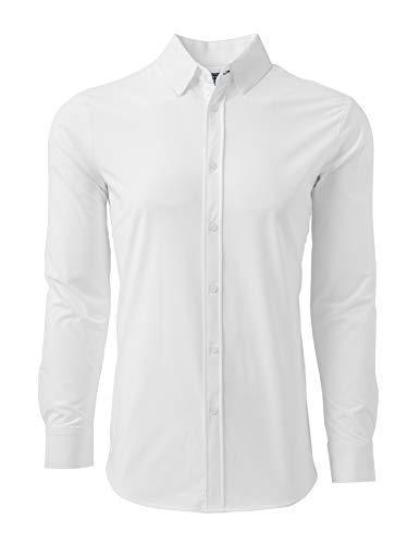 Mizzen + Main Button Down Shirts for Men - Slim Fit Stretch Dress Shirt - Moisture Wicking - Non-Iron - Stockton - White - Medium