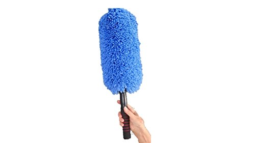 Microfiber Car Duster By Drought Buster Clean Car Quickly Wo Water Streak Scratch Lint Free Long Unbreakable Stainless Steel Extendable Handle Lift Car Household Dust Now Blue