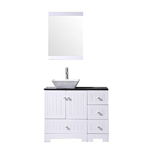 Sliverylake 36 Bathroom Vanity and Sink Combo, Ceramic Vessel Sink 36