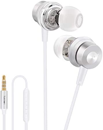 Tuddrom in-Ear Headphones, Wired Earbuds with Microphone and Remote, Hi-Res Stereo Extra Bass, Noise-Isolating Earphones with 3.5mm Plug for iPhone Android Samsung Laptop, White