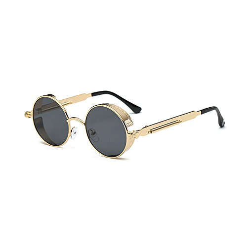 VeBrellen Men Gothic Hippie Retro Metal Round Circle Frame Cyber Goggles Polarized Steampunk Sunglasses (Gold Frame With Gray Lens,C4, - Round Sunglasses Gold