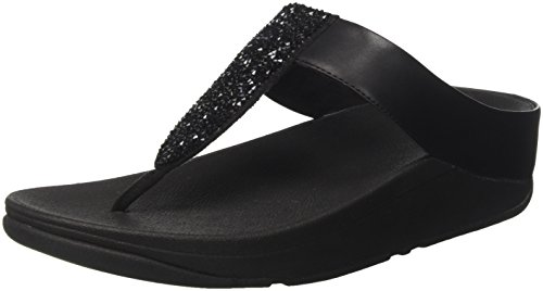 Fitflop Sparklie Roxy Toe Post, Chanclas Para Mujer negro