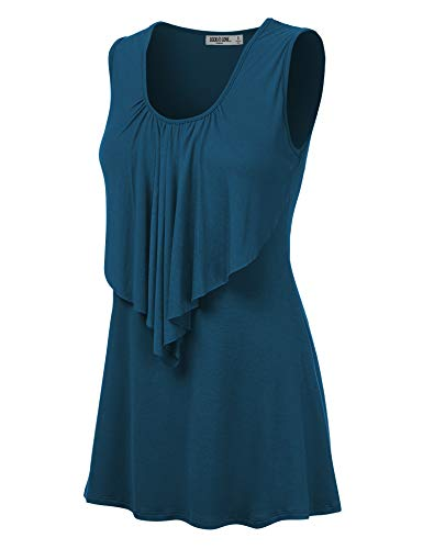 Lock and Love LL Womens Sleeveless Front Ruffle Tank Top M Teal