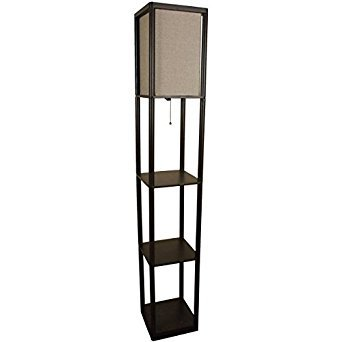 Mainstays Brown Shelf Floor Lamp with Tan Textured Shade by Mainstay