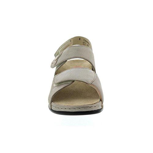 Berkemann Rina, Sandalo, Beige / Argento, Pelle / Stretch, Exchangeable, Ampia Eh 1040-627 Beige / Argento