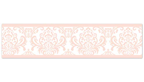 Sweet Jojo Designs Modern Pink Damask Baby Girls, Childrens and Kids Wall Paper Border for Amelia Bedding Collection