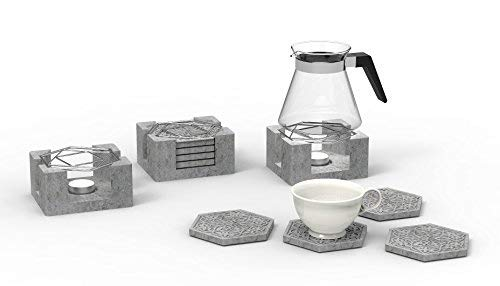 Plain Cement Snowflake Coaster with Steal Teapot Warmer Plate, Come with 4 Hexagon-Shaped Coasters and a Base all made of Concrete plus a Pot Warmer Plate. Dimensions (4'x4'x2')