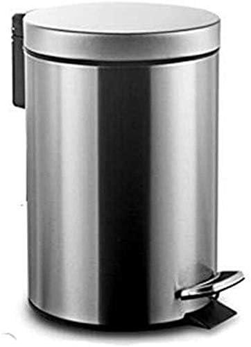 POIUY 欧州のペダルステンレス鋼のゴミ箱家庭用浴室台所寮大容量ゴミ箱缶 (Color : Silver, Size : 12L)