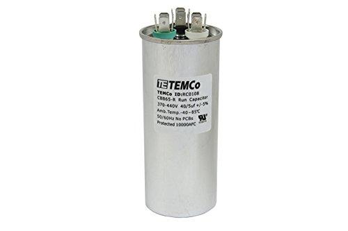 Oil Capacitor - TEMCo Dual Run Capacitor RC0108-40/5 mfd 370 V 440 V VAC volt 40+5 uf AC Electric Motor HVAC