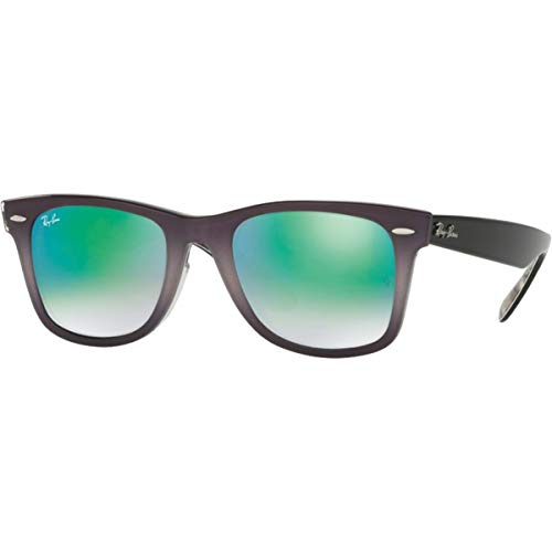 Ray-Ban Men's RB2140F Wayfarer Sunglasses Top Light Grey Grad On Grey / Mirror Gradient Green 52mm (Ray Ban Wayfarer Gradient Grey)