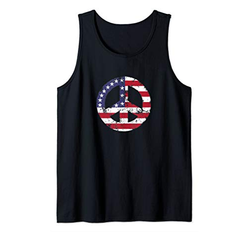 Distressed American Flag Hippie Peace Sign TShirt Men Women Tank Top]()
