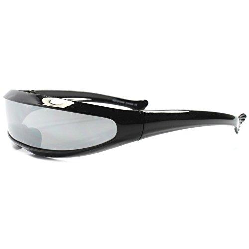 Space Age Futuristic Wrap Around Cool Silver Mirror Lens Visor Sun - Space Age Sunglasses