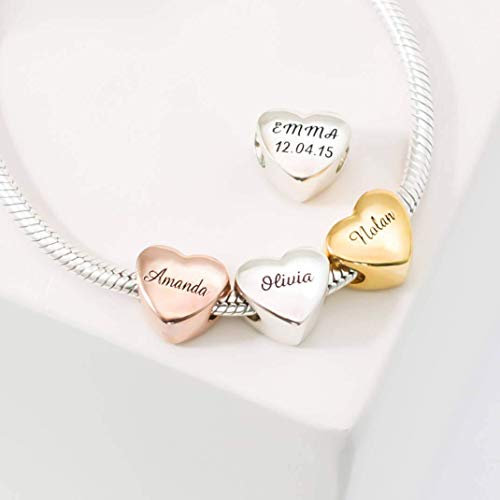 (Custom Name Heart Charm Baby Family Charm Bracelet PersonalizeD European Bead Jewelry in Gold Gift for Her Mother Gift)