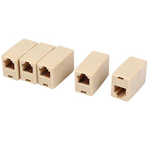 Uxcell Plastic RJ11 6P4C Cable Connector for Landline Telephone 5 Pieces, Beige