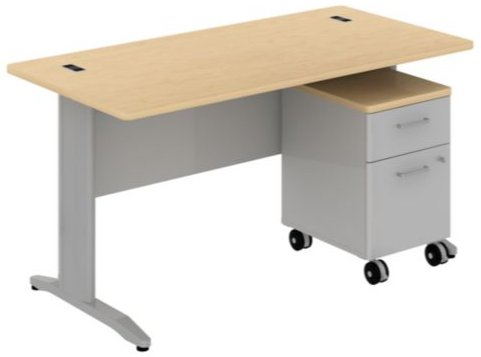 Bush Rectangular Desk (Bush Business Furniture SEC030AC Rectangular Desk with 2-Drawer Mobile)