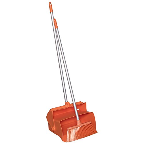 "Remco 62507 Lobby Dustpan with Broom, Polypropylene/Polyester/Aluminum, 7"" X 14"" Bin, 37"" Handle, Orange"