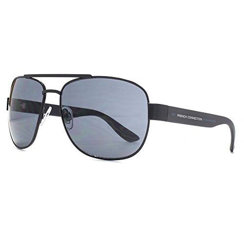 French Connection enveloppé de lunettes de soleil aviateur carrés en noir FCU667 Black Grey