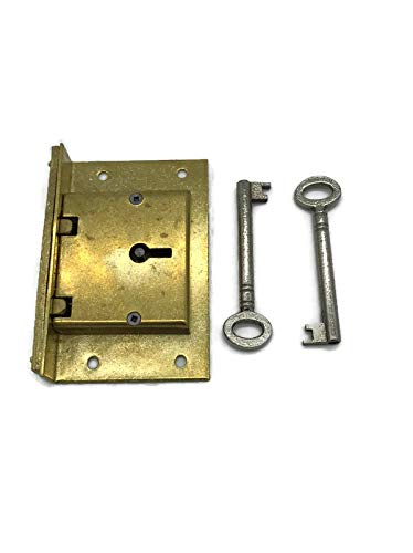 Large Brass Half Mortise Chest or Box Lid Lock w/Two Skeleton Keys | S-7E