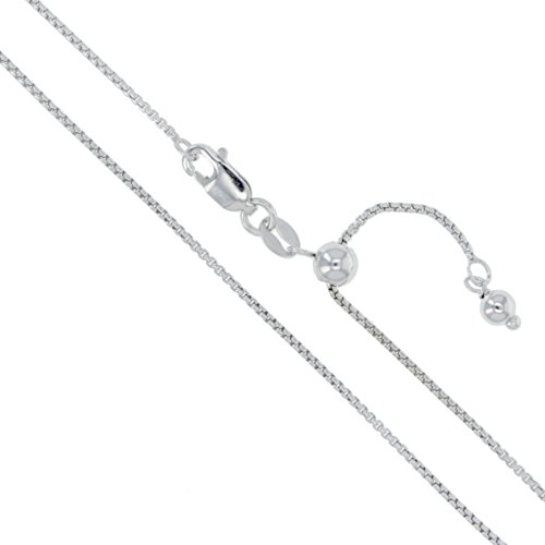 Sterling Silver Adjustable Round Box Chain 1mm Genuine Solid 925 Italy Necklace 22
