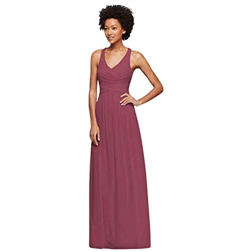 (Small Ella Mesh Long Bridesmaid Dress with Staggered Back Strap Style,24Plus,Chianti)