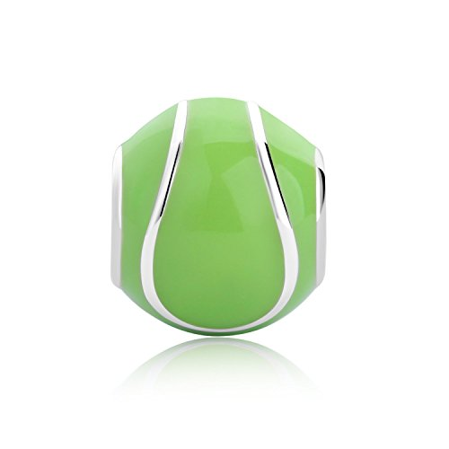 Bella & Beau Polished Silver Charm - Tennis, Anyone? - Enamel (Playtime Collection) from Bella & Beau