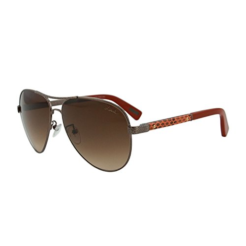 Lanvin SLN 037V 448X Women Hammered Bronze & Orange Leather Trim Aviator Sunglasses (Lanvin Shop)