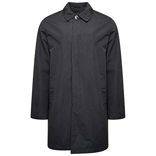 HARRY BROWN Trench Coat Big & Tall Single Breasted in Black 5X