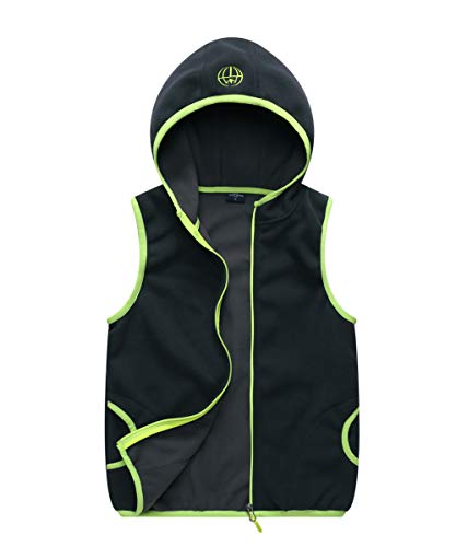 - M2C Boys Hooded Full Zip Polar Fleece Vest Dark Gray 10/12