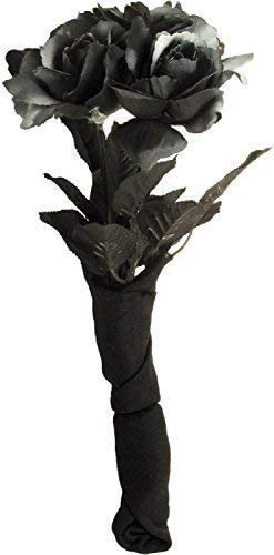 LADIES BLACK ROSE BOUQUET WEDDING FLOWERS HALLOWEEN CORPSE BRIDE DAY OF THE DEAD