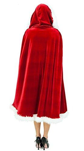 Con mantello Cappuccio Rosso Costume Vogue La Da Donna Velluto Natale ESgqnv