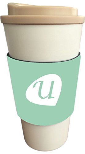 "Rikki Knight Letter ""U"" Initials Hemlock Green Color Petal Leaves Design Latte and Iced Coffee Drinks Cooler Beverage Insulator Neoprene Huggers sized to fit Latte and Iced Coffee Cups"