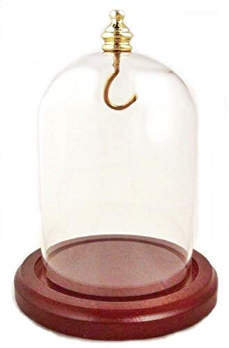 Pocket Watch Glass Display Dome with Gold Knob and Hook with Walnut Stained Base