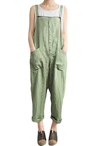 (Lncropo Women's Baggy Wide Leg Overalls Cotton Linen Jumpsuit Harem Pants Casual Rompers (XXX-Large, Style A-Green Button))