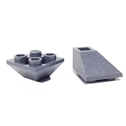 (Lego Parts: Slope, Inverted 45° 2 x 2 Double Convex (PACK of 2 - DBGray))