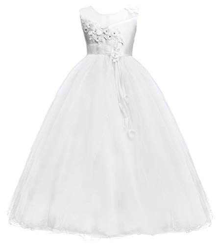 Big Girls Pageant Princess Kids Wedding Bridesmaid Full Length Maxi Tulle Prom Gown TZ11 (White, 7-8year) - Pageant Prom Gown Wedding