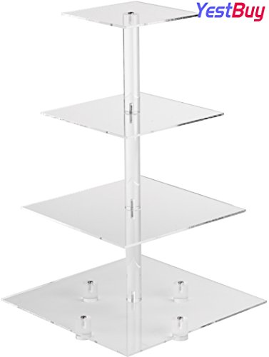 YestBuy 4 Tier Square Tower Acrylic Cupcake Display Stand (20 Inches) by YestBuy