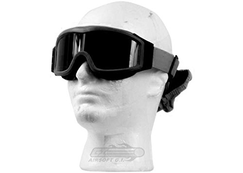 Lancer Tactical Airsoft Safety Goggles Basic with Multi Lens Kit - Smoke, Clear and Yellow Lens (Black)