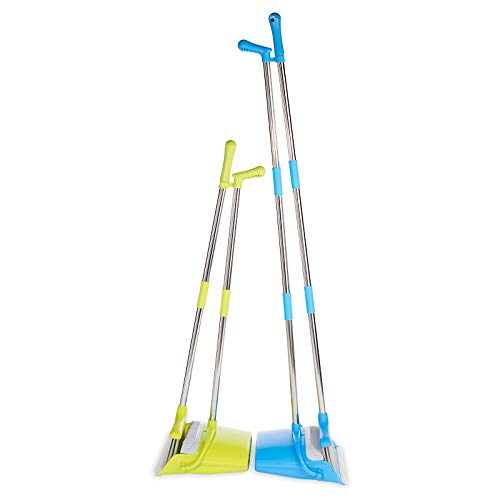 BristleComb Broom and Dustpan Set - Variable Handle Length Broom and Dustpan - Includes: Hand Brush and Dustpan Combo - Lightweight and Upright Stand for Cleaning Your Kitchen, Home, and Lobby (Green) by JFB Home Products (Image #5)