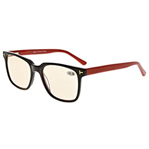 Eyekepper Amber Tinted Lens Optical-Quality Computer Eyeglasses With RX-Able Acetate Frames For Men UV & Blue Light Protection Black/Red +0.0