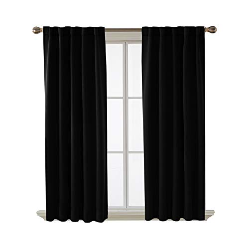 Radiant Rod Pocket - Deconovo Short Blackout Curtains for Small Windows Thermal Insulated Rod Pocket and Back Tab Curtains 42x45 Inch Black 2 Panels