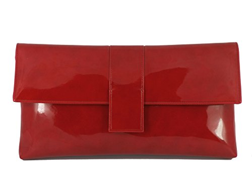 Loni Womens Sensational Faux Patent Large Clutch Bag/Shoulder Bag Wedding Party Prom Bag In Cherry Red by LONI